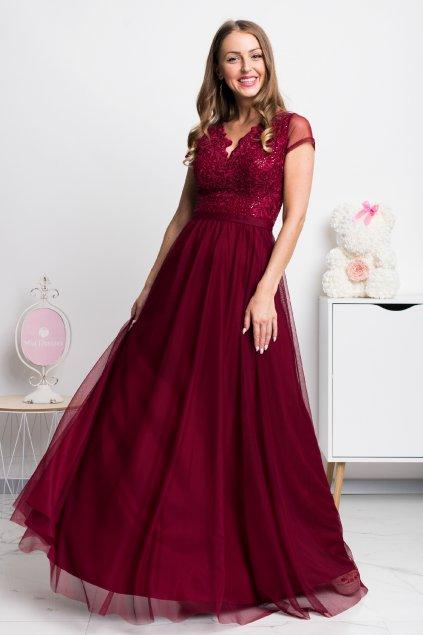 Bordové spoločenské šaty s tylovou sukňou a krajkou