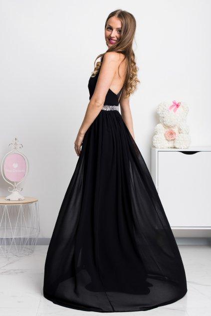Čierne spoločenské šifónové šaty