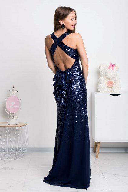 Tmavomodré spoločenské flitrované šaty s odhaleným chrbtom