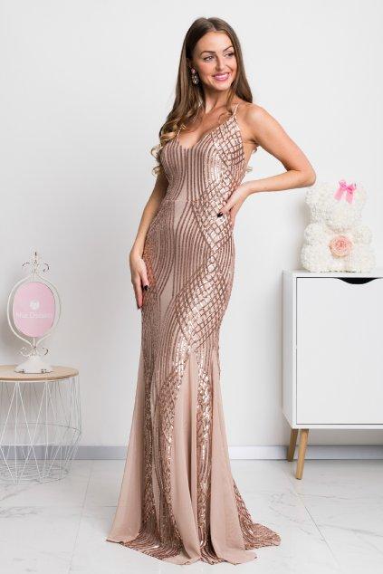 Šampanské flitrované šaty s odhaleným chrbtom