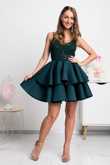 Smaragdové spoločenské mini šaty na ramienka