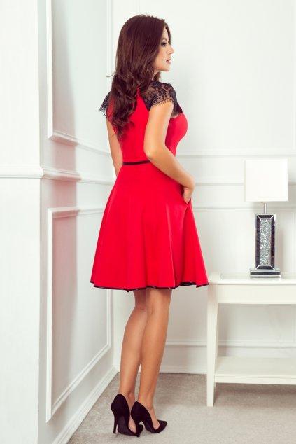 Červené krátke šaty s čipkovanými rukávmi