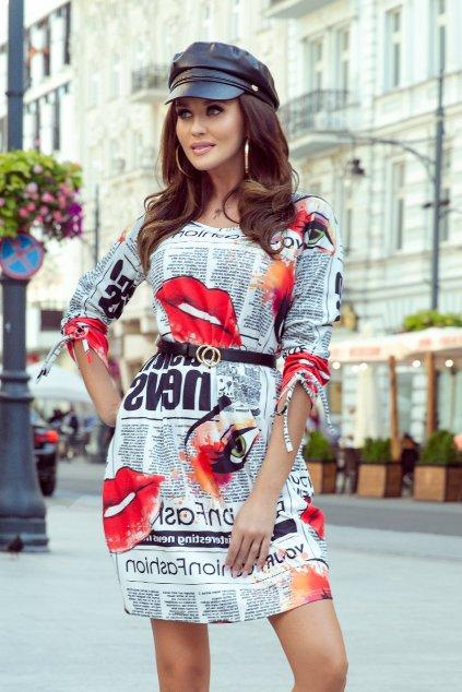 Krátke voľné šaty s farebnou potlačou