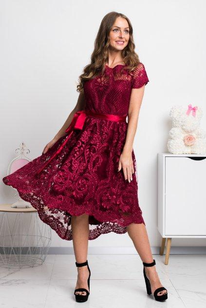 Bordové krátke krajkované šaty