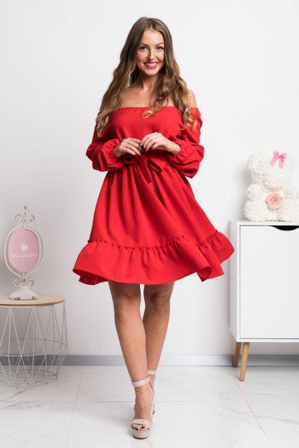 Červené krátke šaty spustené na ramená