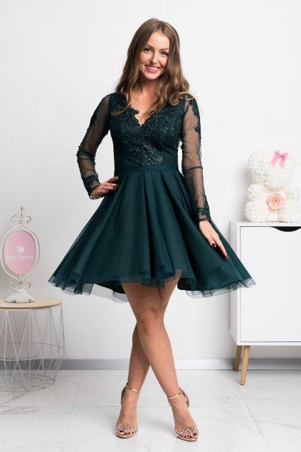Smaragdové krátke šaty s tylovou sukňou a rukávmi