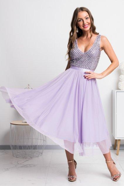 Fialové midi šaty s tylovou sukňou