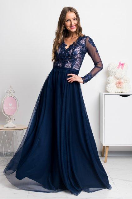 Tmavomodré dlhé šaty s tylovou sukňou a rukávmi