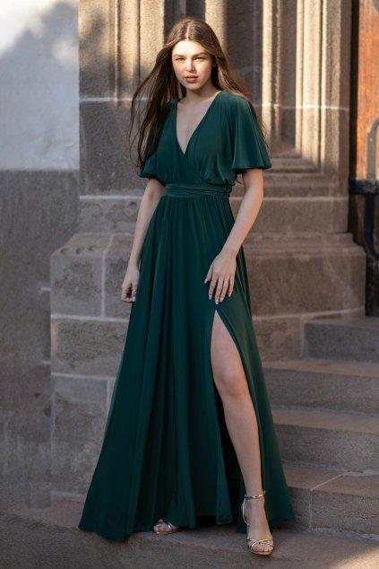 Zelené dlhé spoločenské šaty s voľnými rukávmi