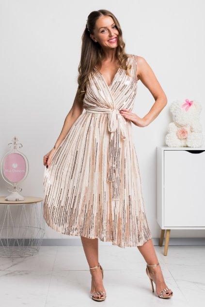 Béžové spoločenské midi šaty s flitrami