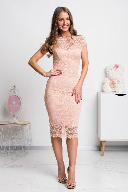 Telové čipkované midi šaty