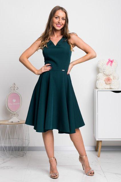 Smaragdové krátke šaty s áčkovou sukňou