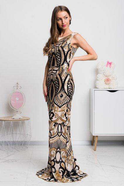 Zlato-čierne spoločenské flitrované šaty