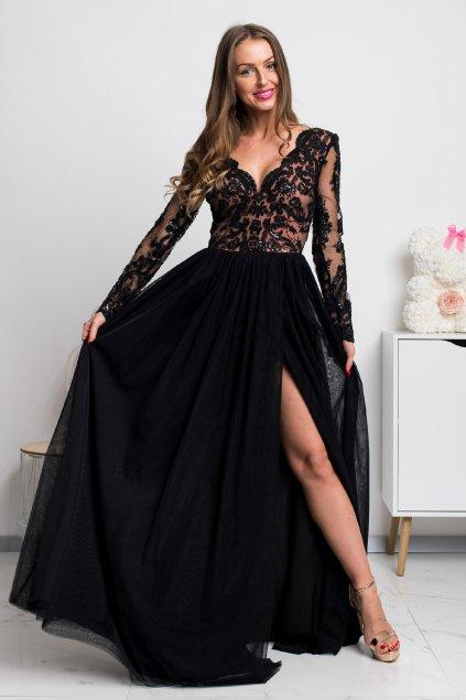 Čierne spoločenské šaty s krajkou a tylovou sukňou