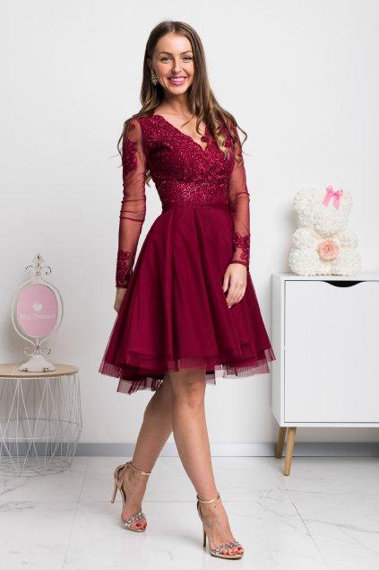 Bordové krátke šaty s tylovou sukňou a rukávmi