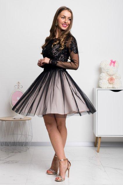 Čierne krátke spoločenské šaty s krajkou