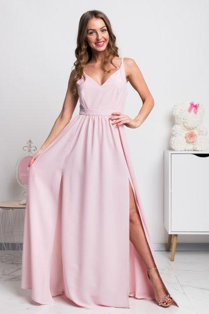 Svetloružové dlhé spoločenské šaty s rozparkami
