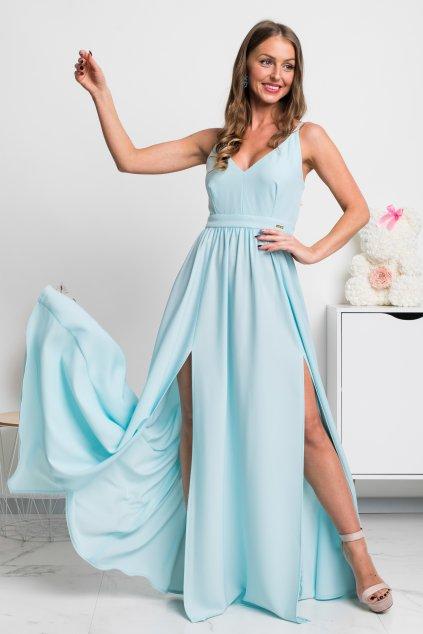 Svetlomodré dlhé spoločenské šaty s rozparkami