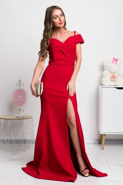 Červené spoločenské priliehavé šaty spustené na ramená