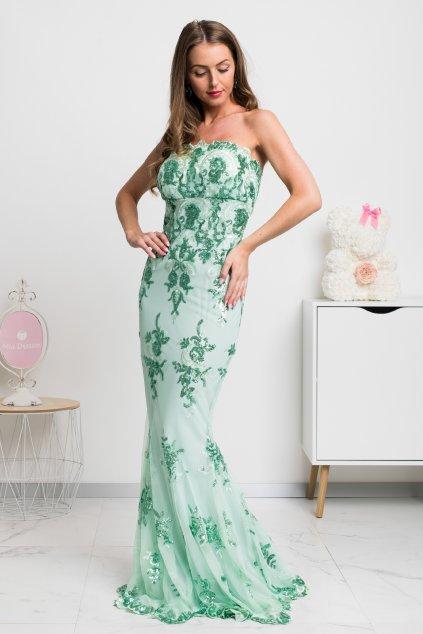 Zelené spoločenské šaty s flitrami
