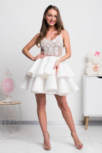Biele spoločenské mini šaty na ramienka
