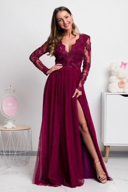 Bordové spoločenské šaty s krajkou a tylovou sukňou