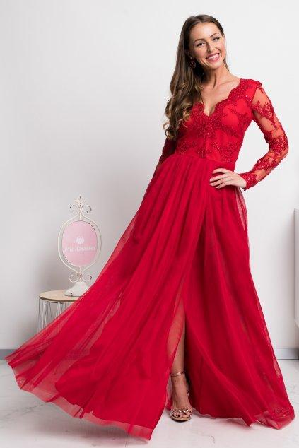 Červené spoločenské šaty s krajkou a tylovou sukňou