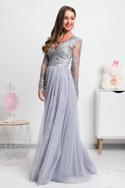 Sivé spoločenské šaty s krajkou a tylovou sukňou