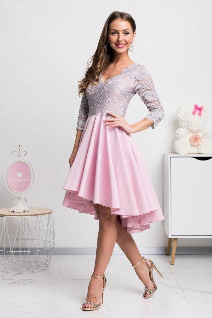 Ružovo-sivé asymetrické šaty s čipkou