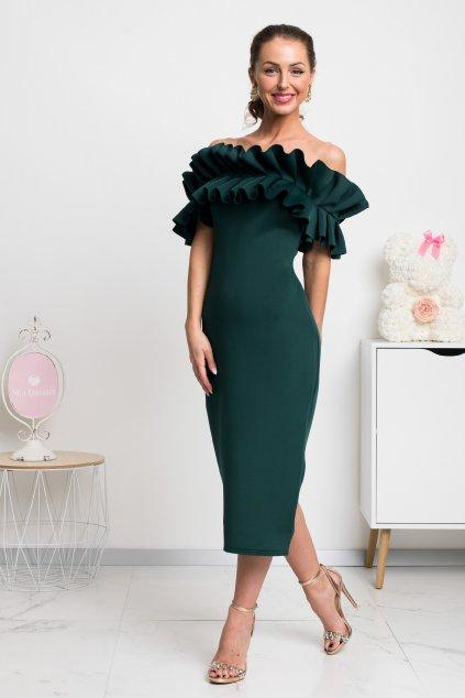 Smaragdové priliehavé midi šaty s volánmi