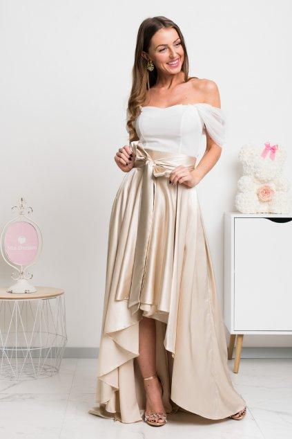 Zlatá saténová asymetrická sukňa