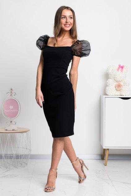 Čierne krátke šaty s tylovými rukávmi