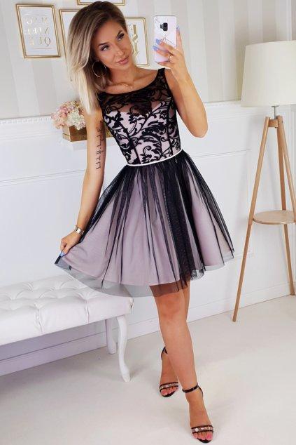 Čierno-krémové krátke spoločenské šaty s vyšívanými kvetinkami