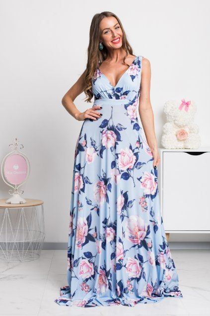 Svetlomodré dlhé šaty s kvetinami