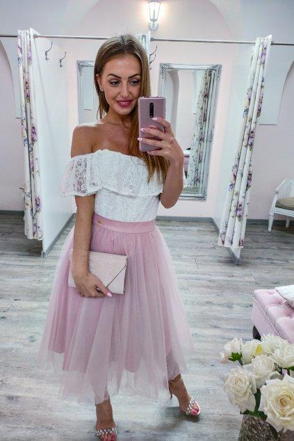Ružová krátka tylová sukňa