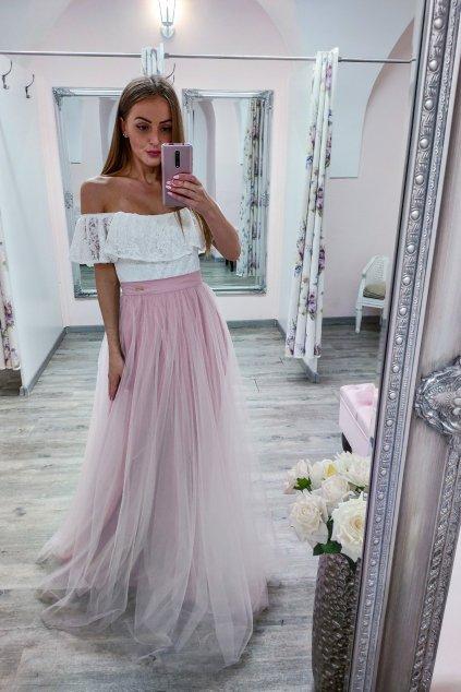 Staroružová dlhá tylová sukňa