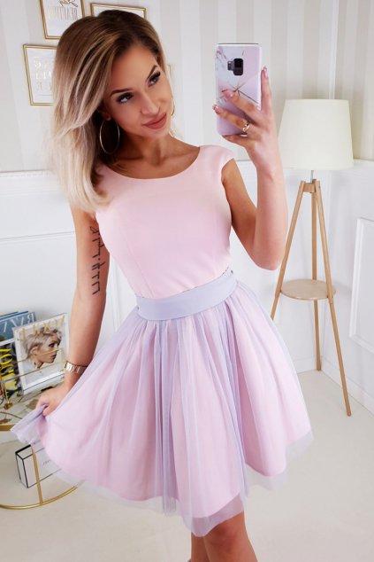 Ružovo-sivé krátke šaty s tylovou sukňou