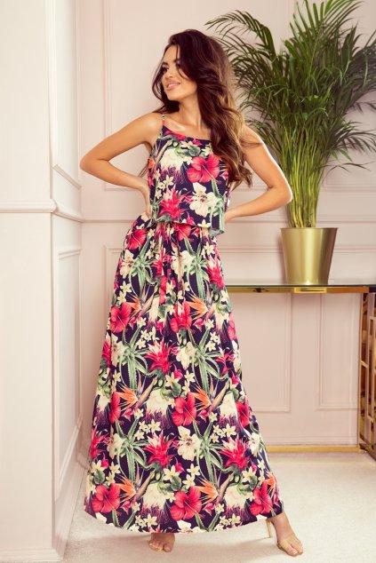 Farebné kvetinové šaty na ramienka