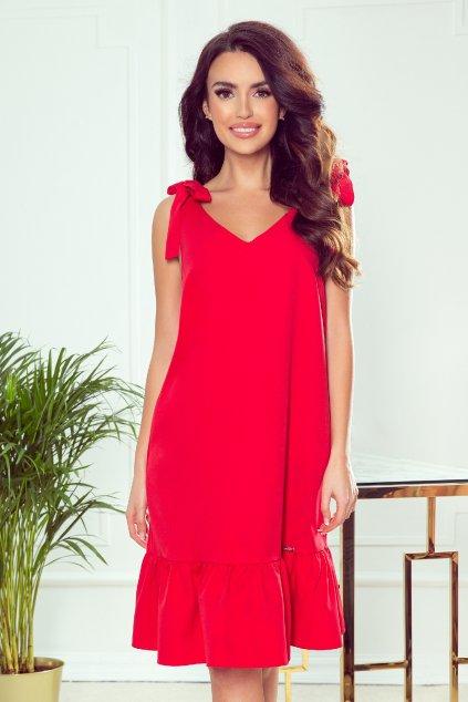 Červené krátke šaty s volánovou sukňou