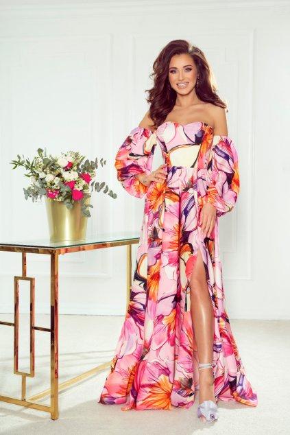 Ružové dlhé šaty s farebnými kvetinkami
