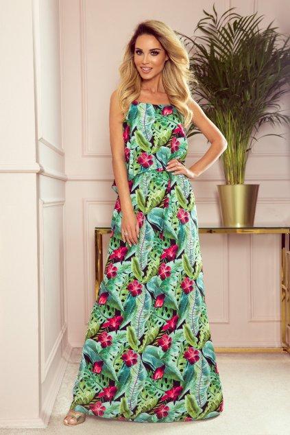 Zelené kvetinové šaty na ramienka
