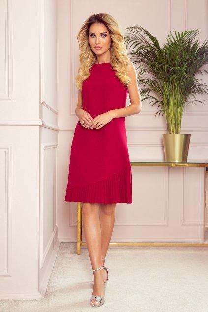 Červené krátke šaty so skladanou sukňou