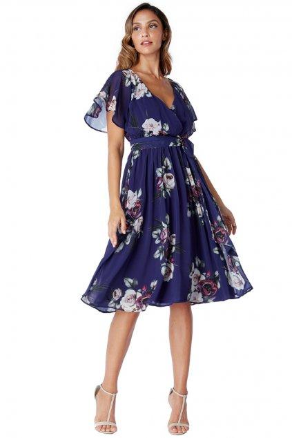 Modré šifónové midi šaty s kvetinami