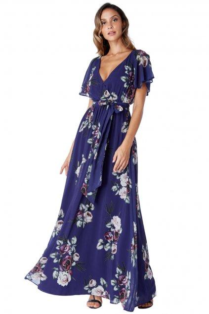 Modré dlhé šifónové šaty s kvetinami