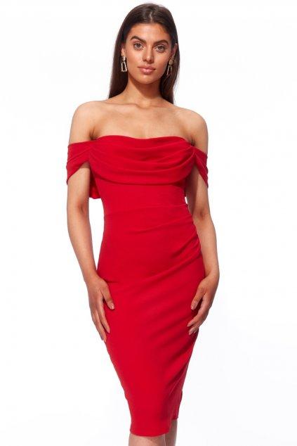 Červené krátke priliehavé šaty spustené na ramená