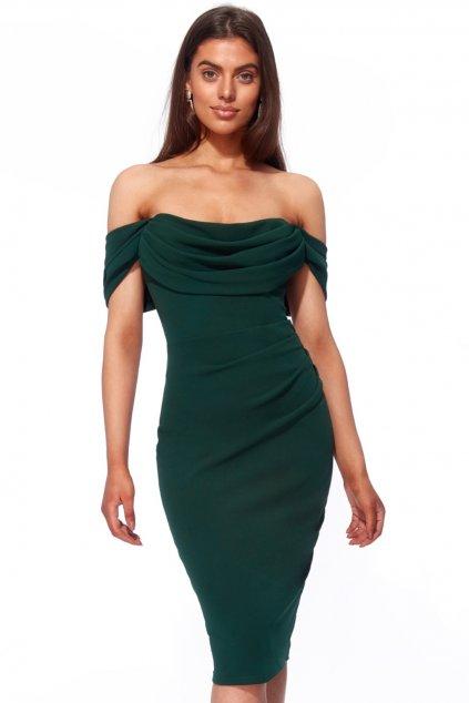 Zelené krátke priliehavé šaty spustené na ramená