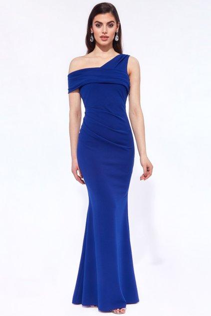 Modré priliehavé spoločenské šaty