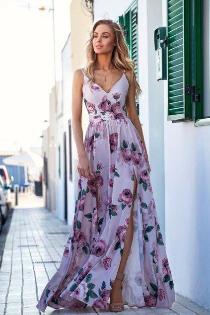 Ružové kvetinové šaty s rozparkami