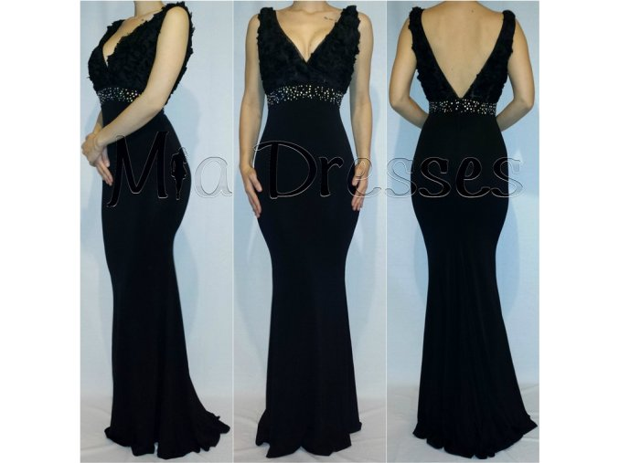 Čierne spoločenské šaty s V výstrihom