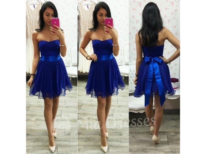 Modré šaty s čipkovaným vrchom